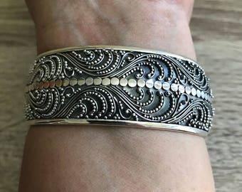 925 Bali Silver Cuff Bracelet