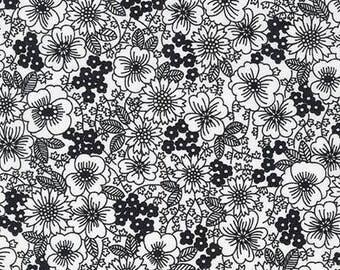 London Calling 6 - Black Floral - Cotton Lawn Fabric - Robert Kaufman Fabrics - Lightweight Cotton