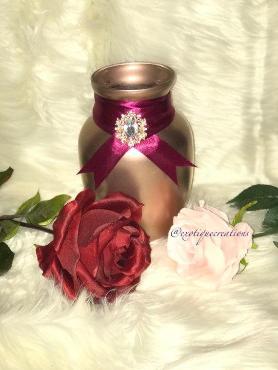 Rose Gold And Burgundy Vase Centerpiece Wedding Vase Centerpieces