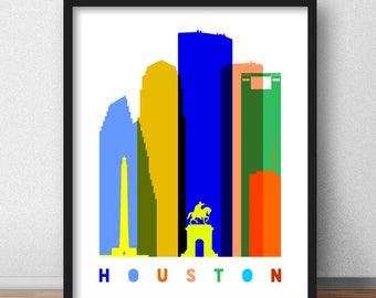 Houston Print, Houston Skyline Scandinavian, Houston Mid Century Modern, Texas Cityscape, Travel Decor Art Minimalist (G0137)