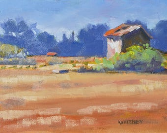 France Landscape, Small Painting, France Painting, Original Oil, Small Oil Painting, Vineyard, Shed, Barn, Provence Oil Painting Sue Whitney