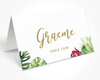 Tropical Wedding Placecards, Place Cards, Monsteria, DEPOSIT | Chelsea Suite