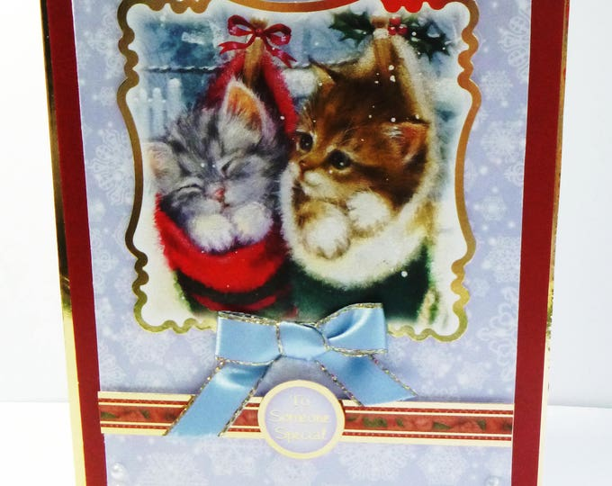Kittens in Socks, Christmas Card, Greeting Card, Handmade Card, Greeting Card, Any Age, Male or Female