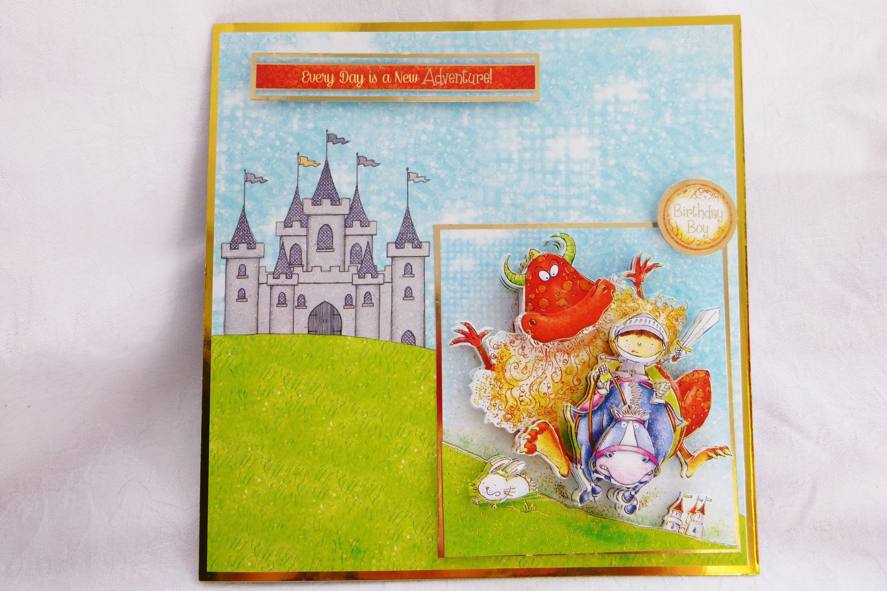 Boys Birthday Card 3D Decoupage Card George and the Dragon