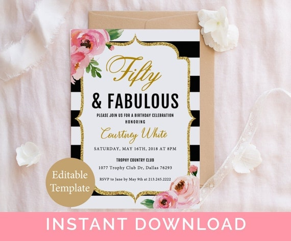 Fifty and fabulous birthday invitation template 50 and fabulous il570xn filmwisefo