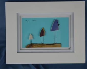 Bird scene seaglass art, 9in x 7in framed pottery seaglass, coastal decor, 3 birds
