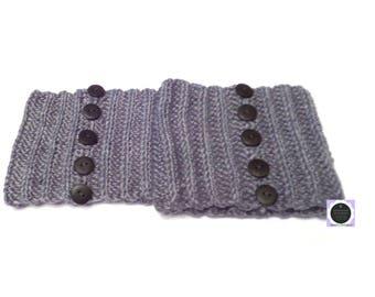 Crochet Ribbed Boot Cuffs, Crochet Boot Cuffs, Gray