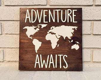 Adventure Awaits Sign // Nursery Sign // Travel Sign // Inspirational Sign // Wood Sign // Farmhouse Sign // Rustic Sign // Farmhouse Decor