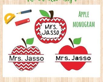 Apple Monogram, Apple Decal, Chevron Apple Teacher Decal, Vinyl Decal, Split Apple Monogram, Tumbler Decal, Teacher Decal, Personalized