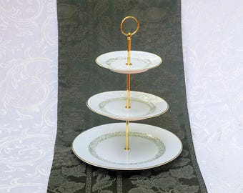 Gorgeous Three Tier Stand, Gold and Green Leaf Design; Tiered Stand, Cake stand, cupcake stand, dessert stand, wedding cake stand, tea party