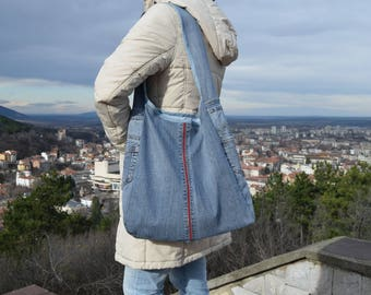 Boho bag, Denim Tote, Denim handbag, Recycled tote, Shopping bag,  Shoulder bag, Denim Purse, school bag