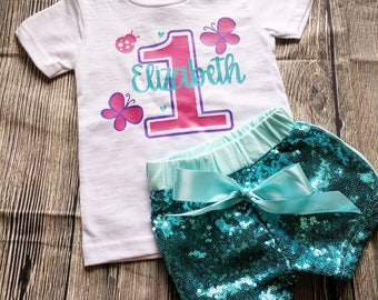 Girl's butterfly birthday shirt, butterfly shirt, butterfly party, personalized butterfly shirt, first birthday butterfly shirt