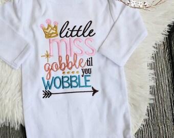 Girls Thanksgiving shirt bodysuit, funny Thanksgiving shirt, gobble till you wobble shirt, first Thanksgiving shirt, baby first Thanksgiving