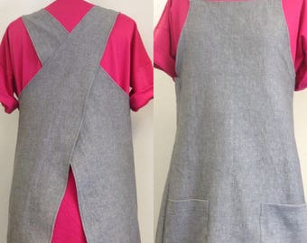 Pattern for crossback linen apron with pockets