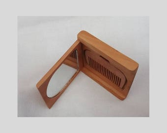 Wooden set: comb and mirror / Wooden comb / Handmade wooden accessories for hair / Pocket comb /Pocket  mirror / Ukrainian Gifts.