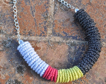 crochet - crochet necklace - beaded necklace - red necklace - white necklace - statement necklace - necklace - colourful necklace - yellow