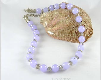 Purple jade and iridescent crystal - gem 123 stones necklace