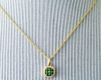 0.35tcw 14K Yellow Gold Diamond & Lab Created Emerald Clover Pendant Necklace