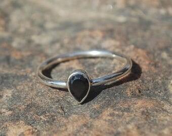 ON SALE Natural Black Onyx Ring - Gemstone Ring - Gemstone Jewelry - Handmade Jewelry