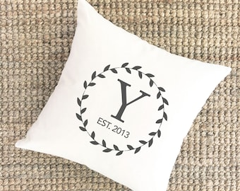Personalized Wedding Gift for Couples Pillow | 5 Year Anniversary | Monogrammed Pillow | Unique Gift for Him | 2nd Anniversary Gift Cotton