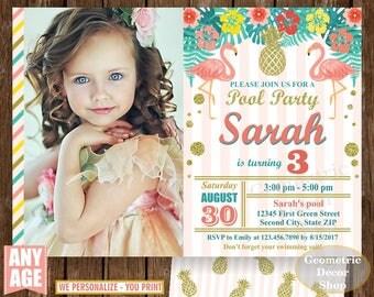 Flamingo Pineapple First Birthday Invitation Pool Bash Birthday invite Printable Luau Hawaiian Party Coral Teal Photo Photograph Gold BDP21