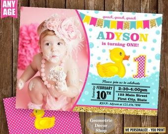Rubber Duck, Duckie Birthday, Duck Birthday, Gold Pink Rubber Duck Birthday, Invite, Birthday Invitation, Splish Splash Pool Bash BDuck2
