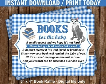 Wolf / Blue / Plaid / Chalkboard / Book / Raffle / Request / insert / baby / shower / Instant / download / Ticket / Cards /BookWolf1
