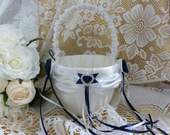 WEDDING FLOWER GIRL basket navy blue and white satin and ribbon hearts diamante bride petals children aisle decorations