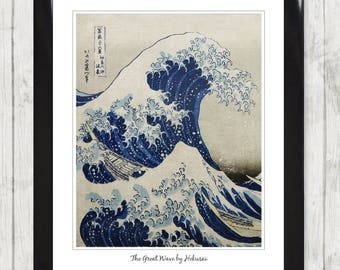 The Great Wave by Hokusai Art Print Framed Picture Poster High Res Home Decor 038