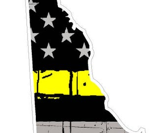 Delaware State (E10) Thin Yellow Line Dispatch Vinyl Decal Sticker Car/Truck Laptop/Netbook Window
