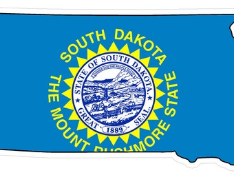 South Dakota State (Q42) Shape Flag Vinyl Decal Sticker Car/Truck Laptop/Netbook Window