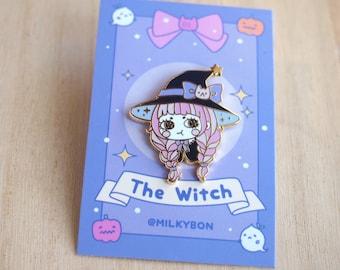 Cute Pastel Kitty Hallowen Grumpy Magical Witch Hard Enamel Pin