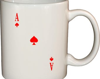 Ace Of Spades Red Design - 12 Oz Ceramic White Coffee Mug