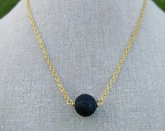 Oil Diffuser Necklace - Lava Bead Necklace - Gold Plated Lava Stone Diffuser - Black Lava Necklace - Essential oil diffuser necklace