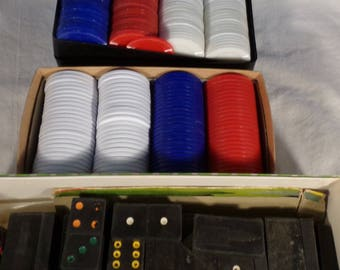 Dominoes and poker chips