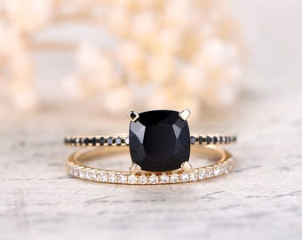 7mm Cushion Cut Black Spinel Ring Set,2pcs Solid 14K yellow gold engagement ring,South African diamond ring,Deco wedding promise ring Set