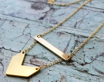Gold Bar Necklace  - Chevron Bar Necklace - Name Necklace - Stainless Steel Gold Necklace - Personalized Necklace  - Stamped Bar Necklace