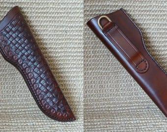 SCKLeather Handmade Veg Tanned Leather Bushcraft Knife Sheath