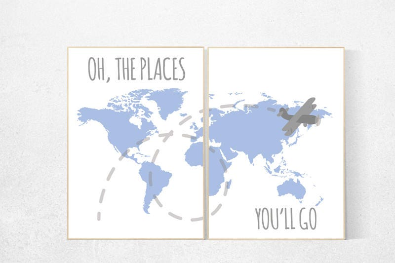 Oh the places youll go travel nursery decor world map wall art 1 gumiabroncs Image collections