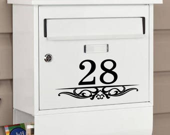 Set of 2 Custom Mailbox Address Vinyl Decal Stickers Mail Box Vinyl Numbers Mailbox Curb Appeal Mailbox Decals House Numbers Home Address