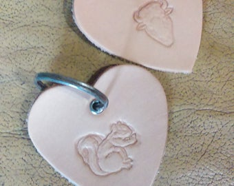 """natural leather Keychain heart embossed """"Buffalo"""" or """"squirrel"""""""