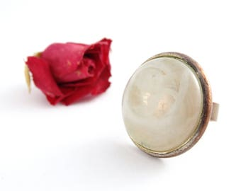 Vintage Ring - Glass Ring - White Gem Ring