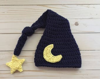 Newborn Moon Hat, Baby Moon Hat, Sleepy time hat,  Newborn long tail hat, Newborn Photo Prop, Newborn Stocking Cap, Moon and star hat