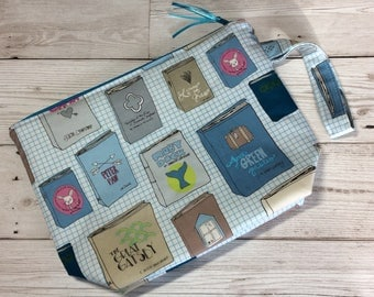 Small zipped project bag - Library Books