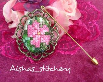 Cross stitch hijab pin