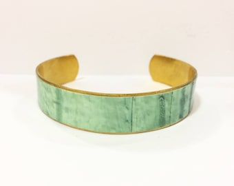 "Bracelet ethnic ""serenity"" - wide - protected paper - brass"