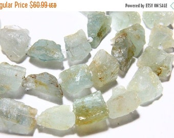 "65% OFF SALE 14"" Full Strand Natural Aquamarine Gemstone Rough Shape Rough, Natural Aquamarine Rough Stone Nuggets Drilled Rough Gemstone Be"