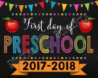 First Day of Preschool  Sign, Instant Download, First Day of School Color Chalkboard, Back To School, Chalkboard Sign, Pre School, Printable