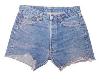 Vintage Levis 501 Denim Shorts True 1980s USA Made Cut Offs Stonewash Blue High Waist W32 approx UK 12