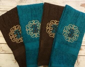 Monogrammed Hand towel - monogram bathroom towel - matching towels - hand towels - hostess gift - personalized hand towel - wedding gift
